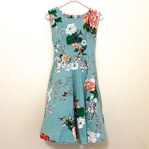 ACEVOG Floral Birds and Butterflies Pin Ups Dress